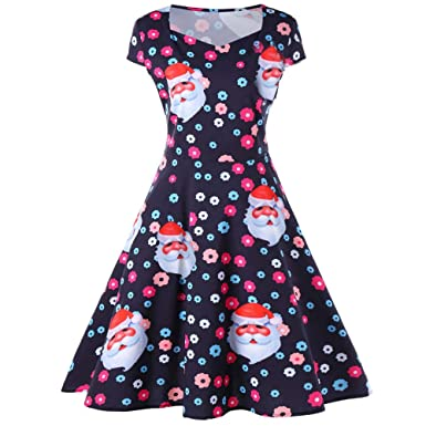 add75238fc1 Connia Christmas Swing Vintage Dress Winter Women Girls Elegant  Santa Flower Print Party Flare Dress