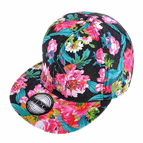 ZLYC Women Fashion Floral Print Adjustable Casual Snapback Baseball Cap Hat - Hat Snapback Floral