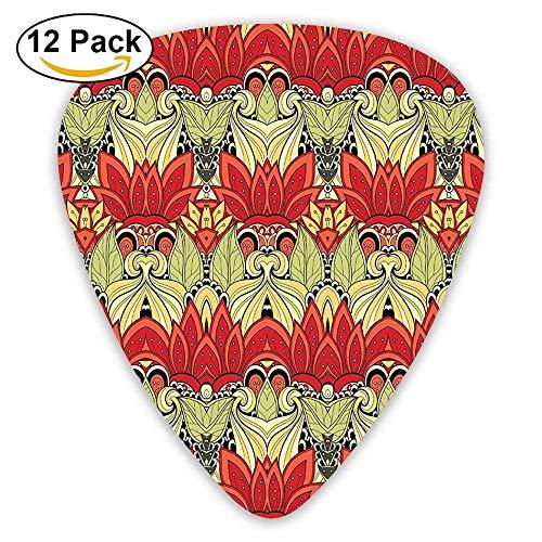 Asian Batik Blooms Motif In Colors Ornate Nature Inspired Boho Floral Boho Guitar Picks 12/Pack