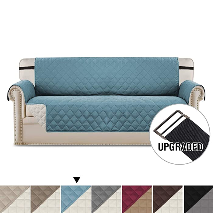"""H.VERSAILTEX Reversible Sofa Slipcover Quilted Furniture Protector with 2"""" Elastic Strap Water Resistant Sofa Covers Couch Slipcovers Protect from Kids, Dogs, Cats (Sofa X-Large: Smoke Blue/Beige)"""