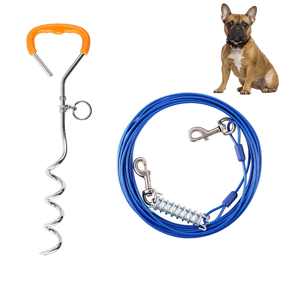 GoodTend Tie-Out Cable for Dogs with Sturdy Leash for Small to Medium Dogs 30 Feet Cable Great for Camping or The Garden by GoodTend