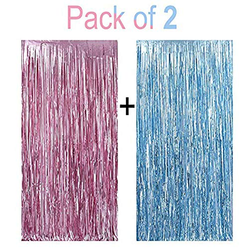 Metallic Tinsel Foil Fringe Curtains 3.2 ft x 6.6 ft Baby Shower Gender Reveals Party Decoration Party Photo Backdrop (Pink/Blue) 2 pcs Set]()
