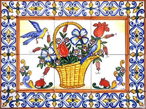 ART ESCUDELLERS Handpainted Ceramic Mural Basket with Flowers with Edge Border. 23.62'' x 17.72''.