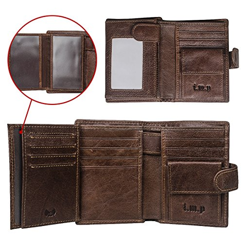 RFID Blocking Leather Wallet for Men- Multi Card W/snap Closure Genuine Oil Wax Leather (Rfid Blocking Leather Wallet)