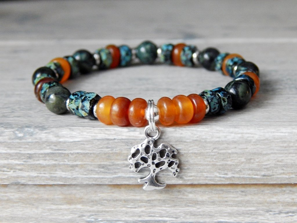 Green Nature Inspired Tree of Life Gemstone Bracelet