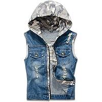 NASKY Men&Women's Fit Retro Ripped Denim Vest Sleeveless Jean Vest and Jacket
