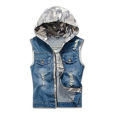 f8e722987be650 NASKY Men s Retro Ripped Jeans Denim Jacket Vest Hooded Vest Waistcoat Top  Small