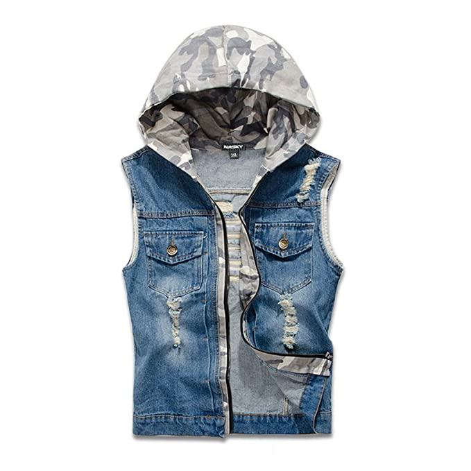 buying new performance sportswear best sale NASKY Men's Fit Retro Ripped Denim Vest Sleeveless Jean Vest and Jacket