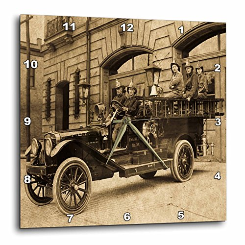 3dRose dpp_16229_1 Wall Clock, Vintage Fire Engine with Company Sepia, 10 by 10-Inch
