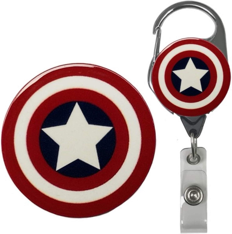 Superhero Real Charming Retractable Metal Carabiner ID Badge Holder Badge Reel (America MC)