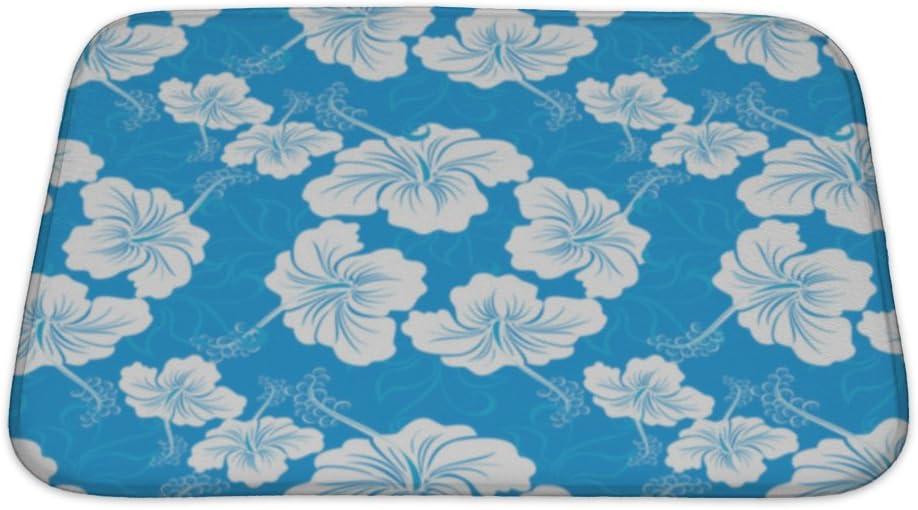 Amazon Com Gear New With Hibiscus Flower Hawaiian Patterns Bath Rug Mat No Slip Microfiber Memory Foam Home Kitchen