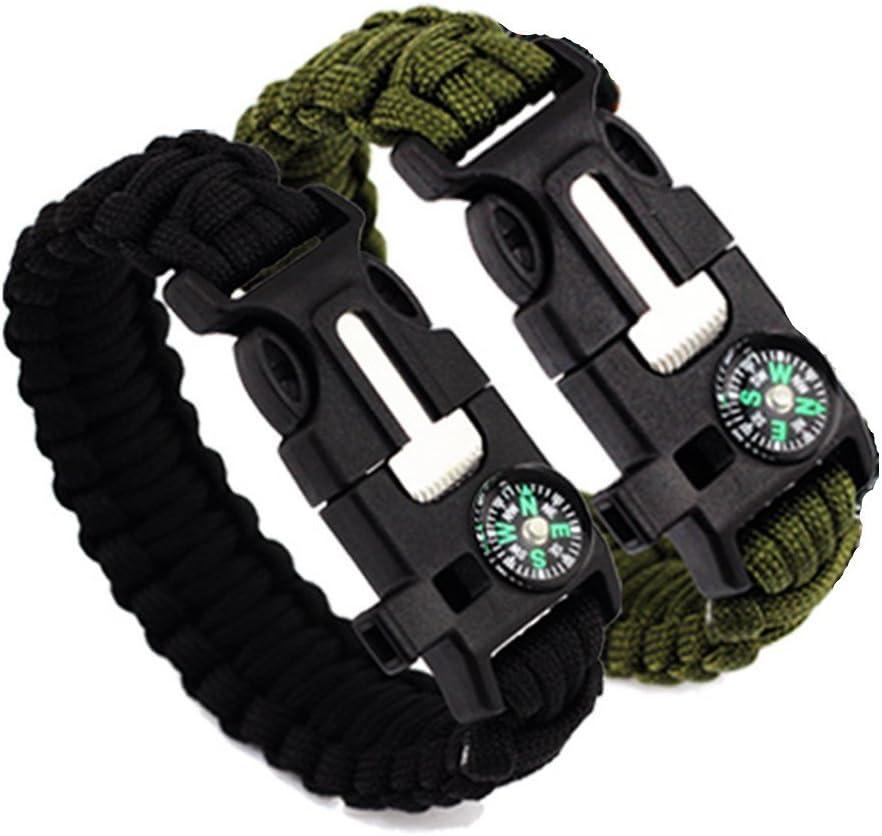 Bracelet de survie avec boussole Flint Fire Starter Grattoir Sifflet Gear–multifonctionnel extérieur kit de survie Paracord Bracelet de survie pour randonnée Camping d'urgence