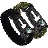 2 Pcs Survival Bracelet with Compass Flint Fire Starter Scraper Whistle Gear - Multifunctional Outdoor Survival Kit Paracord Survival Bracelet for Hiking Camping Emergency (Army green, Black)