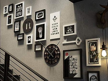 Q&Z Marcos De Fotos GaleríA De Fotos Collage Escaleras 15 Marco Creativo De Pared GaleríA MúLtiple Carta Requiere Ensamblaje Portafotos De Madera con Reloj Romano para Industria Decoracion Regalo: Amazon.es: Hogar