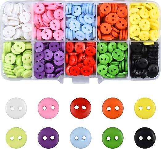 Piezas Botón de Resina Botones Redondos Costura Mezclados Botones de Resina con Caja de Plástico para manualidades de Infantil Costura DIY Coser Artesanía 10 color: Amazon.es: Hogar