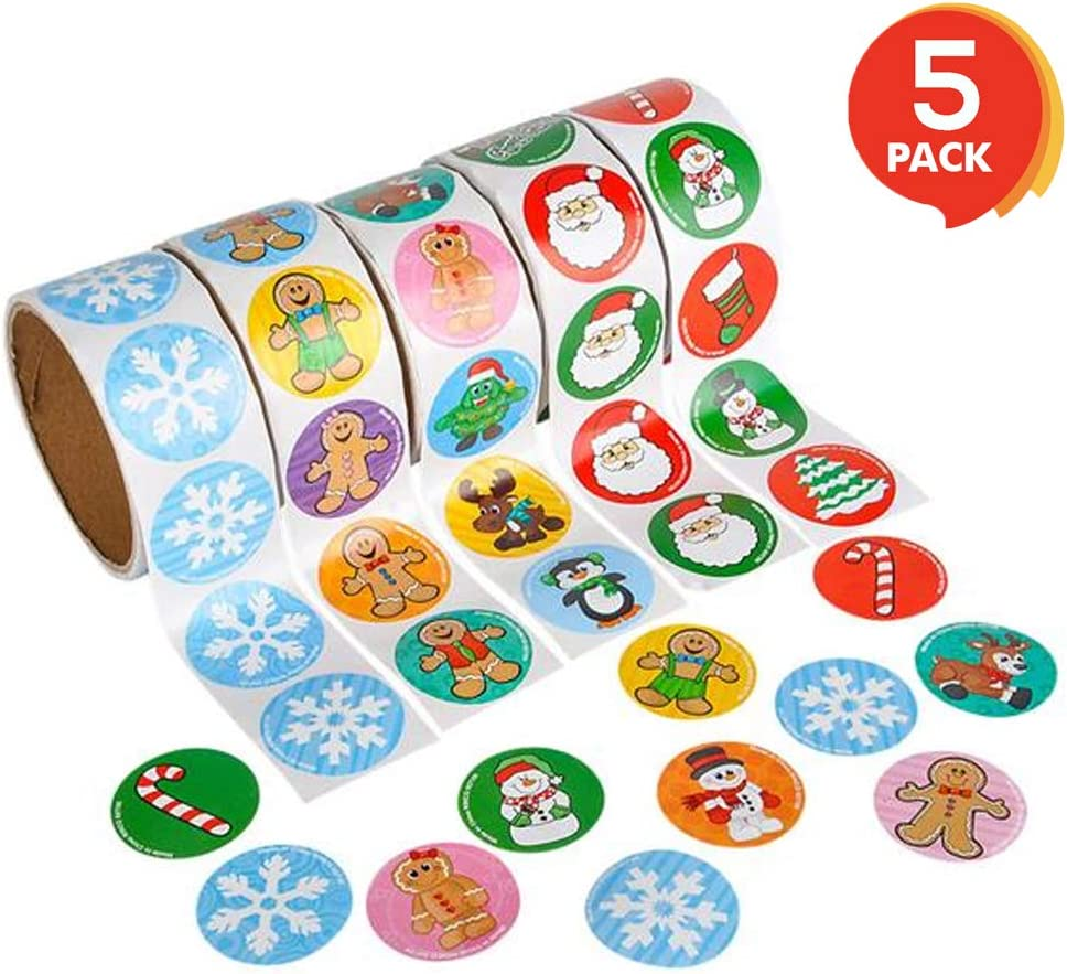 ArtCreativity Holiday Roll Stickers Assortment - 500 Christmas Themed Stickers - Great Christmas Party Favors  Goodie Bag Fillers  Holiday Decorations for Boys and Girls Ages 3