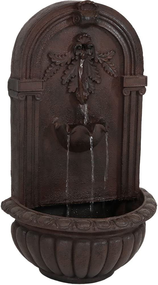 Sunnydaze Florence Outdoor Wall Water Fountain - Waterfall Wall Mounted Fountain & Backyard Water Feature with Electric Submersible Pump - Iron Finish - 27 Inch