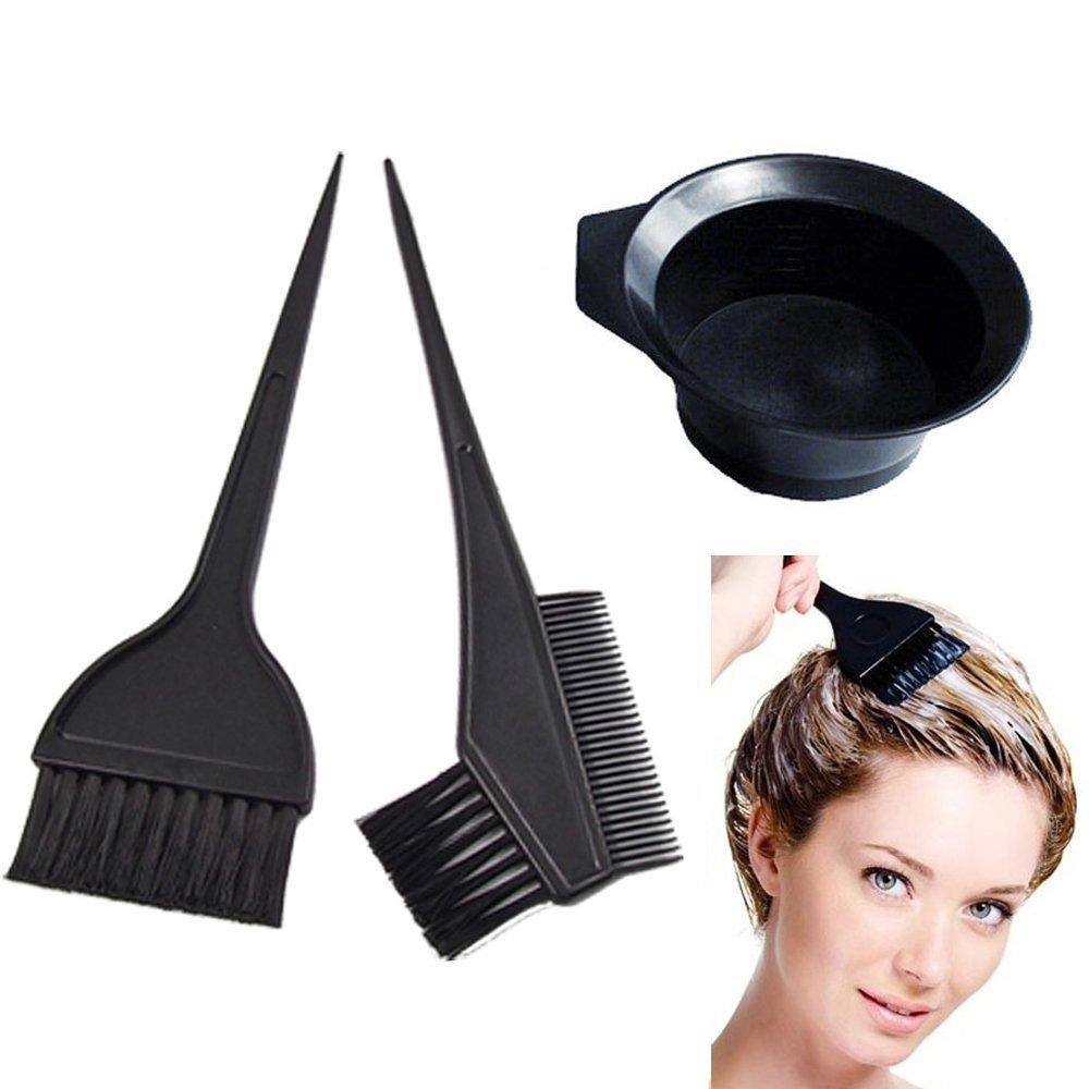 ATB 3 Pcs Salon Hair Coloring Dyeing Kit Color Dye Brush Comb Mixing Bowl Tint Tool Bleach