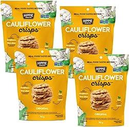Hippie Snacks Gluten Free, Non-GMO Cauliflower Crisps - Original, 4 x 70 gram pack