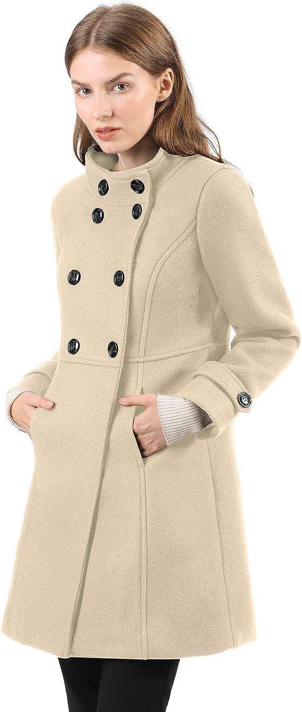 Allegra K Damen A Linie Stehkragen Button Trenchcoat Mantel
