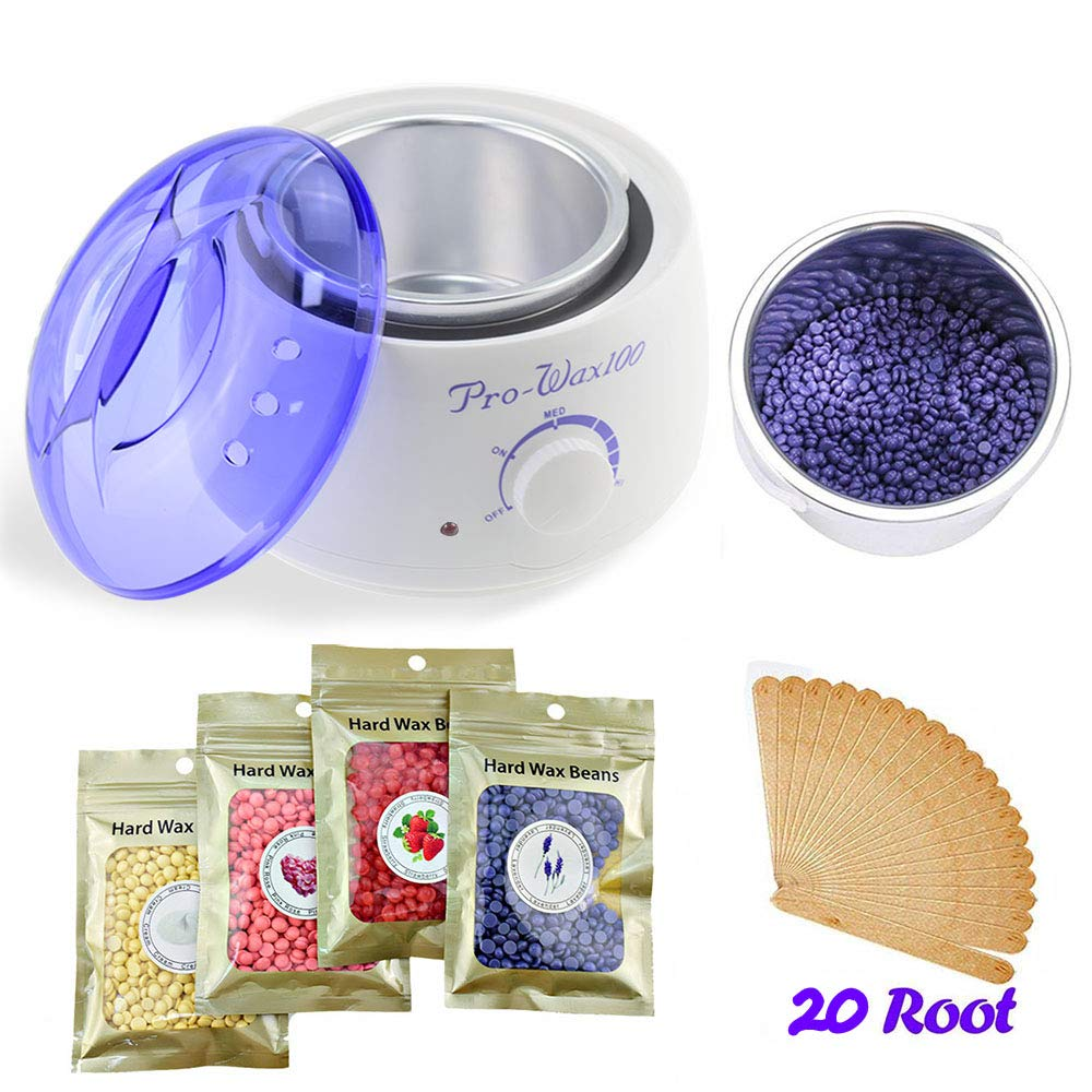 Wax Warmer Shave/Hair Removal Kit- with Wax Heater & Hard Wax Beans (4 packs) & Wax Applicator Sticks (20 pcs), Wax Depilatory Machine for Painless Hair Removing Use of Arm/Leg/ Face/Body RAYDOSOM