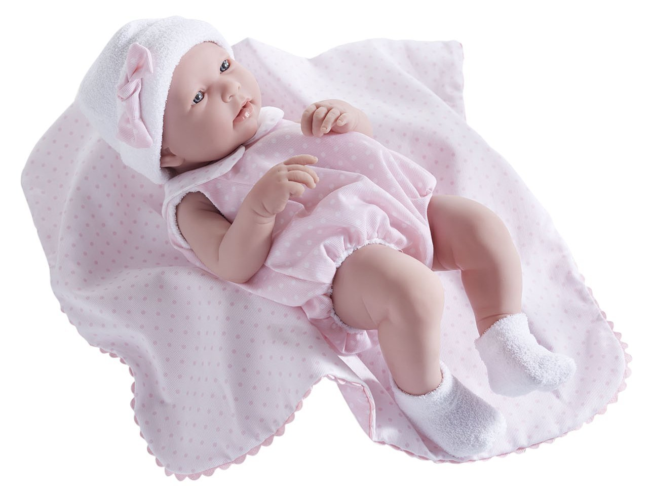 """Made in Spain JC Toys Group Inc JC Toys La Newborn 18108 All Vinyl in Blue Bubble Suit and Blanket Designed by Berenguer Boutique Realistic 17 Anatomically Correct /""""REAL BOY/"""" Baby Doll"""