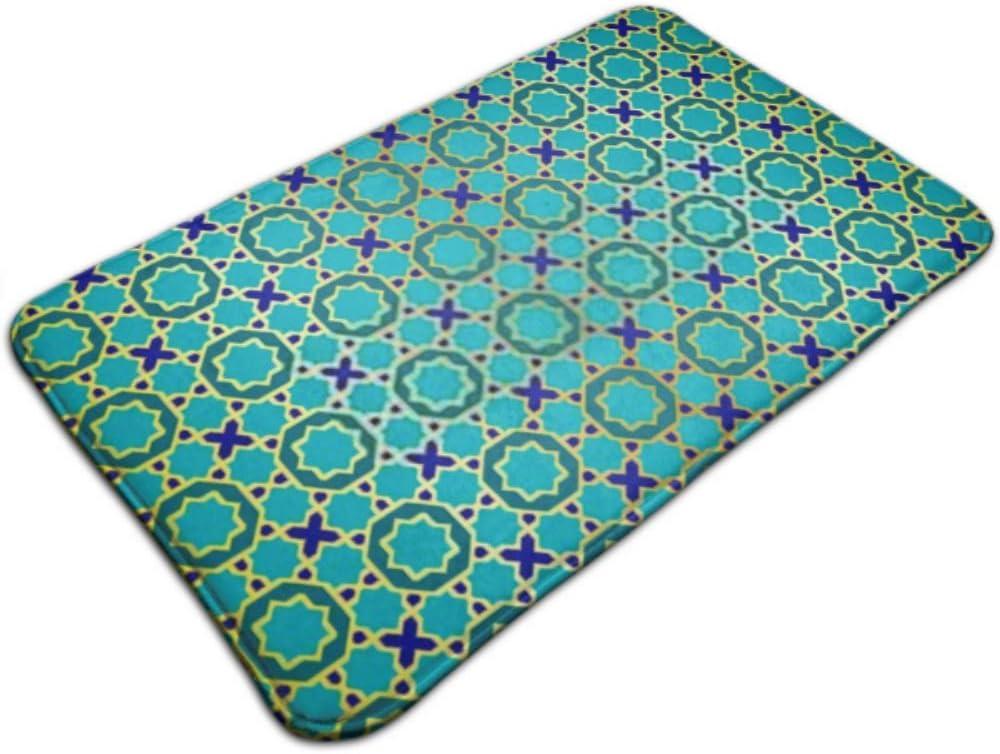 XHYYY Alfombrilla de Interior Alfombrilla de Azulejos marroquíes de Oro Azul Adornado sin Costuras Alfombrilla Antideslizante Alfombrilla de Exterior al Aire Libre D