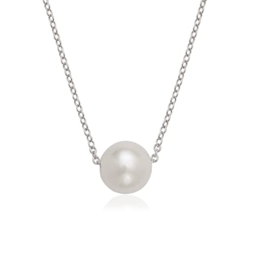 """6bf5fffa56d500 Sterling Silver Italian Single 10mm Cultured Freshwater Pearl16+2""""  Necklace Birthstone Jewelry ..."""