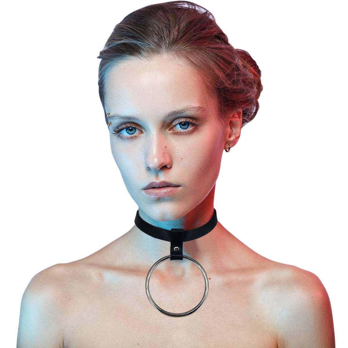 e5595c4b1bdc9 Homelex Punk Leather Choker Necklace Gothic Black O-Ring Collar For ...