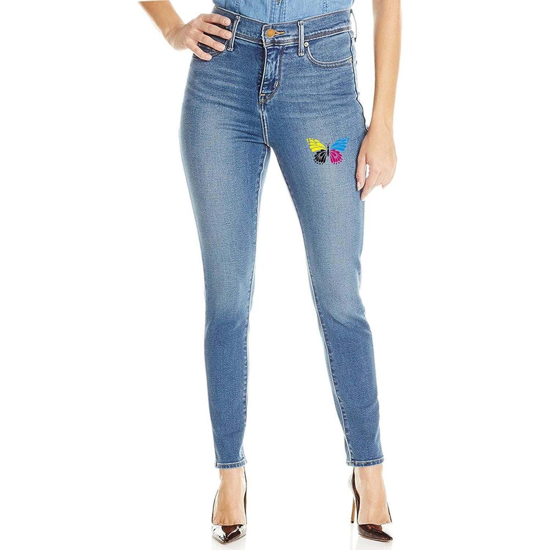 Womens Moss Sweet Butterfly Mid Waist Stretch Skinny Jeans