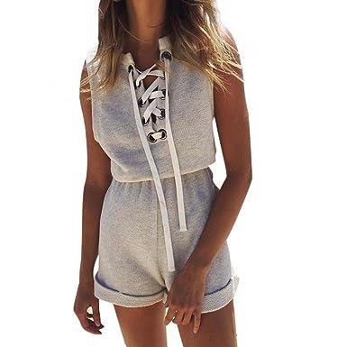 32b6bf70ddb9 Bravetoshop Women Criss Cross Bandage Jumpsuits Sleeveless Shorts Playsuits  (Gray