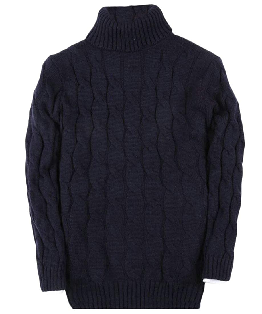 Keaac Men Fall Winter Solid Turtle Neck Collar Pullover Sweater
