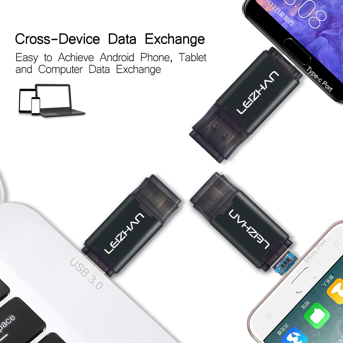 Note 8,S10 S9 S8 S7 S6 S5,Google Pixel Note 9 Type-C Flash Drive USB 3.0 Android Micro Memory Stick,64GB Phone Picture Stick for Samsung Galaxy Note 10