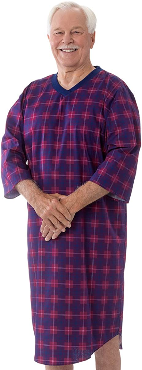 Red//Navy LGE Silverts Disabled Elderly Needs Mens Flannel Open Back Adaptive Hospital Patient Gowns Easy