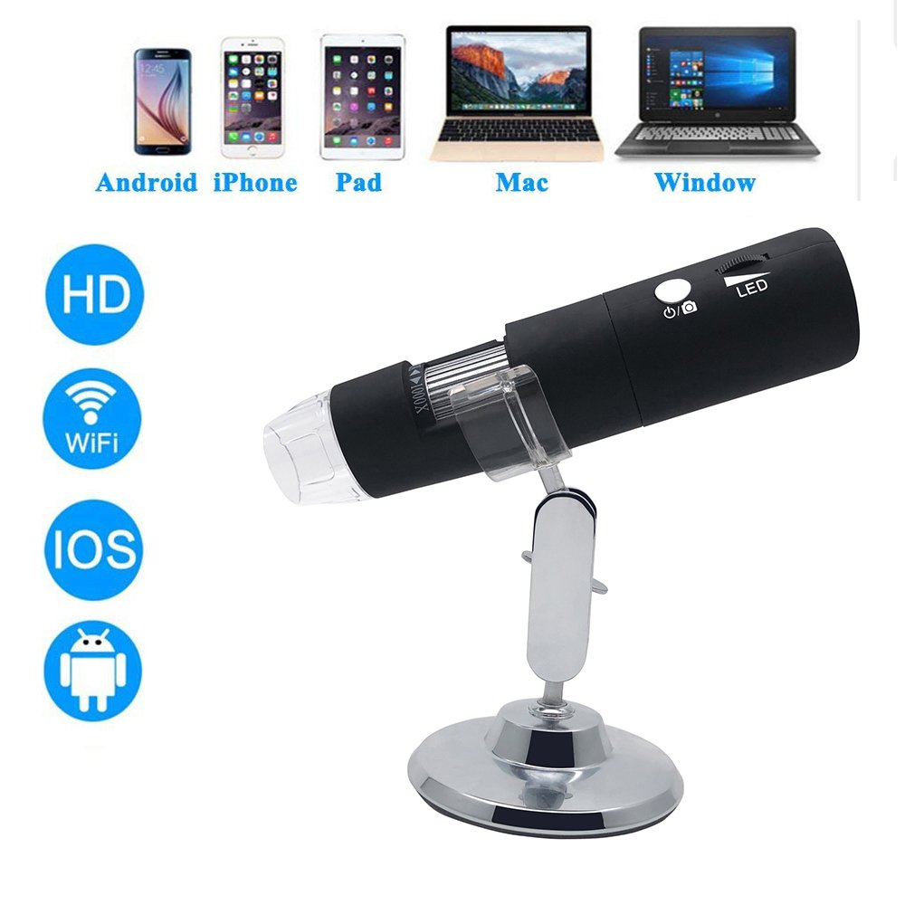 1080P HD WiFi Digital Microscope,2MP Camera with 50x to 1000x Magnification Handheld Endoscope 8LED Mini Camera for iPhone/iPad/Android Phone/Windows/Mac