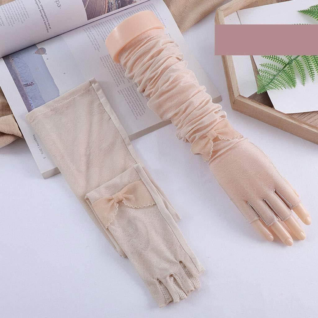 NQ-ChongTian Fahren Sonnenschutz Handschuhe weibliche d/ünne Abschnitt Anti-UV-EIS-Seide /Ärmel halbe Finger Reiten elastische Armschutz Arm /Ärmel