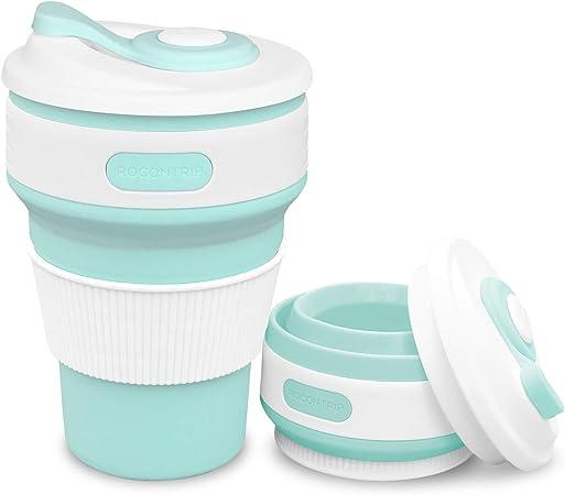 Plegado de caf/é Taza de Viaje de Silicona a Prueba de Fugas Taza Regalo Taza 350 ML 100/% de Calidad alimentaria sin BPA para Camping Senderismo ROCONTRIP Plegable Taza