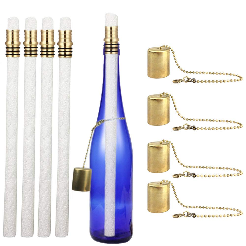 EricX Light Wine Bottle Tiki Torch Kit 4 Pack Includes 4 Long Life Tiki Torch Wicks Brass Tiki Torch Wick Holders and Brass Caps Just Add Bottle for an Outdoor Wine Bottle Light