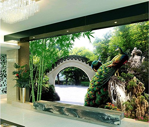 LWCX 3D Wallpaper Custom Photo Silk cloth Mural 3D Wall Murals Wallpaper The Family Garden Peacock Backdrop 280X200CM Garden Spot Wallpaper