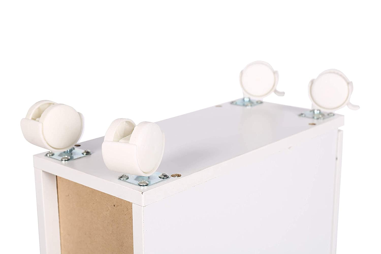 MAIMAITI Mobile Bagno Bianco con Ruote ,Ci Sono Due Piccoli cassetti,15 x 33 x 65 cm