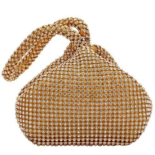 AIJUN Triangle Full Rhinestones Women's Evening Clutch Bag Party Prom Wedding Purse (Gold)