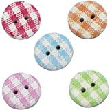 Gingham Painted Wooden Buttons In Mixed Colours (15mm X 25pcs Pack) Perfect For Card Embelishing, Scrapbooking & Other Arts& Craft Projects.