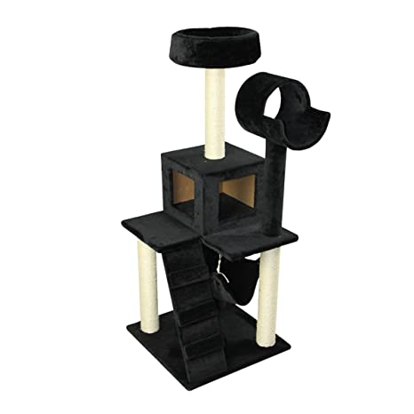 PawHut Árbol para Gatos Rascador 124cm con Nido Plataforma Caseta Escalera Hamaca 50x50x132cm Estructura Madera Cubierto