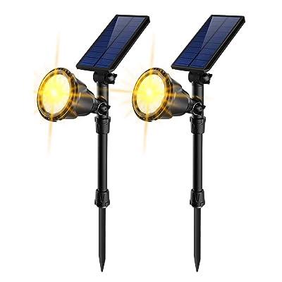 JSOT Solar Lights Outdoor, 18 LED In-Ground Lights Spotlight Waterproof Landscape Lighting Solar Security Lamps for Garage Deck Garden Wall (Yellow Light, Pack of 2) : Garden & Outdoor