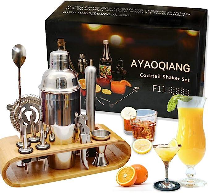 Juego de coctelera Coctelera de 750 ml Juego de herramientas de barra de acero inoxidable Juego de Bartender con soporte de exhibición por AYAOQIANG