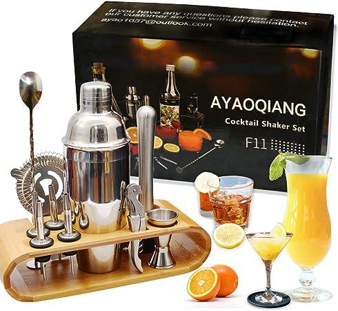Compra Juego de coctelera Coctelera de 750 ml Juego de herramientas de barra de acero inoxidable Juego de Bartender con soporte de exhibición de madera por AYAOQIANG en Amazon.es