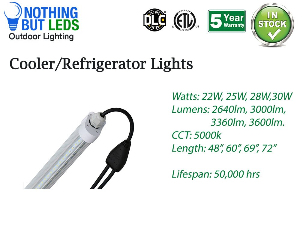 LED Cooler Door Light,Double-Strip V Shape (100-277VAC) Built-in Driver, Daisy-Chain Installation (Upto 200watts in a Series),Length 60'' 25W 3000lm 5000K. ETL&DLC, 5 Years Warranty Sold 5 in Quantity