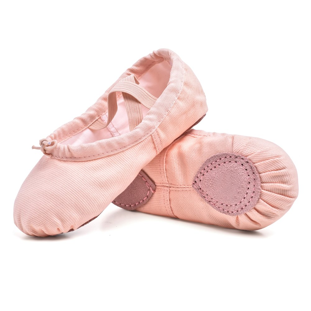 STELLE Girls/Women's Canvas Ballet Slipper Dance Shoes Ultra Soft Ballet Flats Yoga Shoes(Ballet Pink, 7M Toddler)