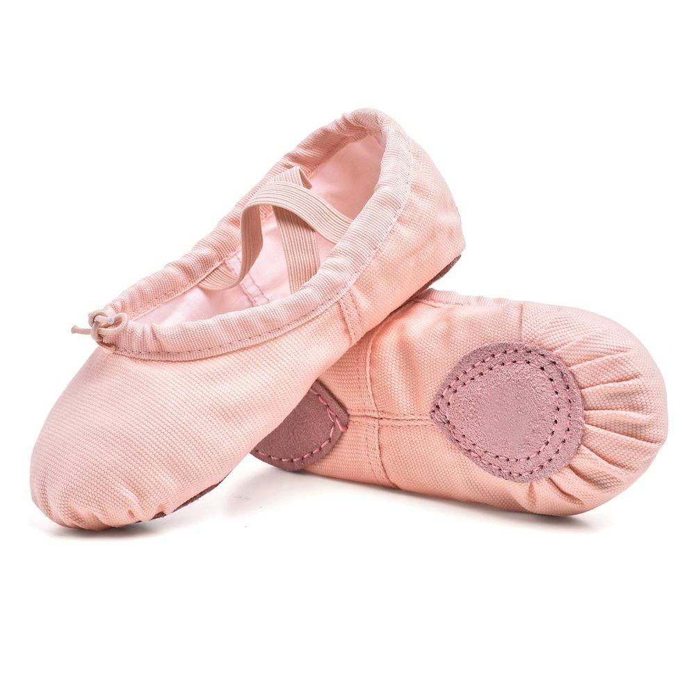 STELLE Girls/Women's Canvas Ballet Slipper Dance Shoes Ultra Soft Ballet Flats Yoga Shoes(Ballet Pink, 11M Little Kid)