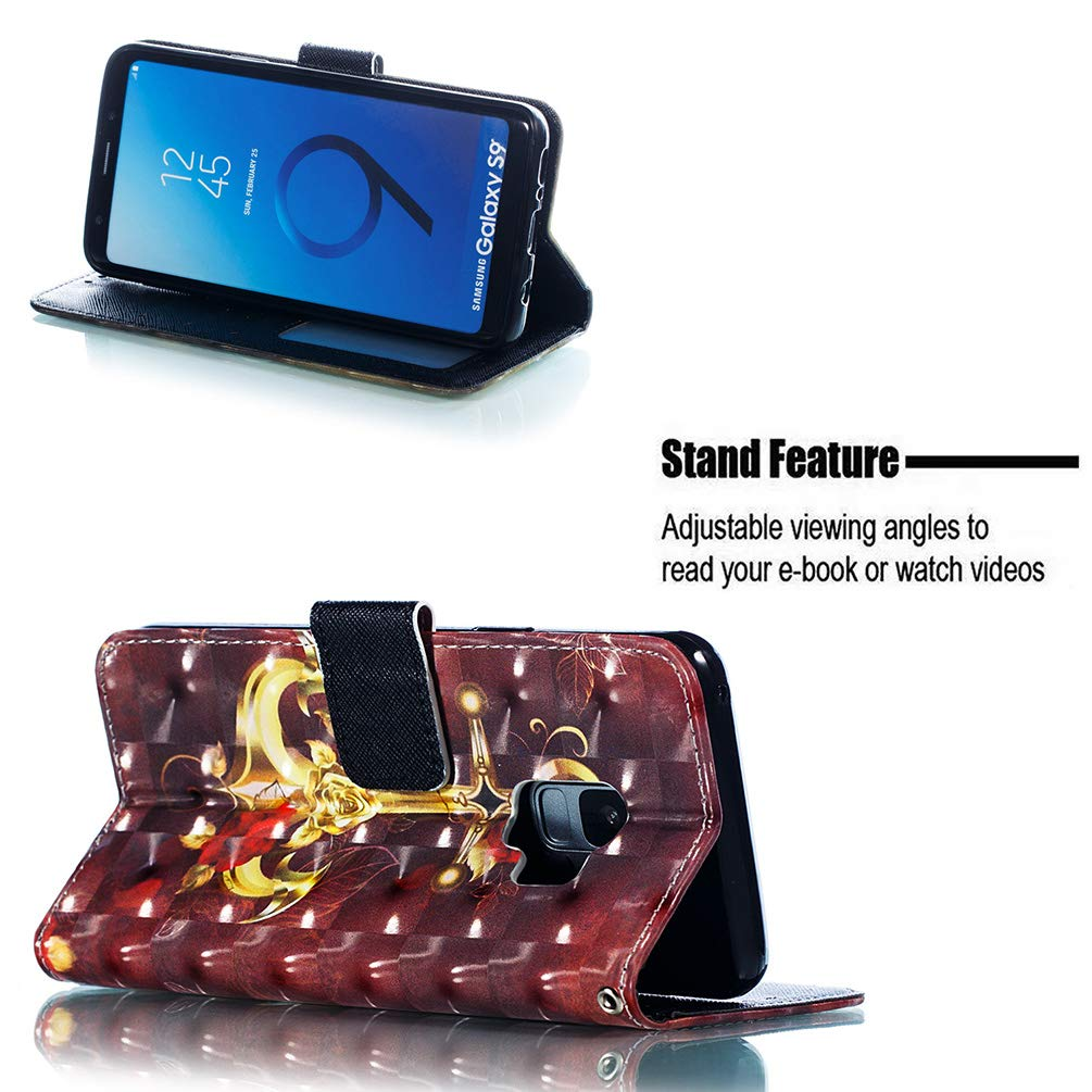 Einfarbiger Flip PU Leder Handyh/ülle Klappbares Brieftasche Schutzh/ülle Stand Wallet Case Cover Tasche mit Karteneinschub Schmetterlingsfrau MLorras H/ülle f/ür Samsung Galaxy S9